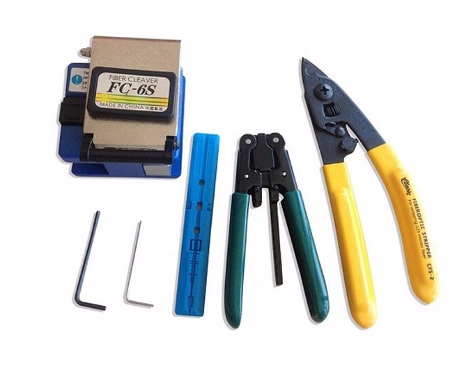 Free shipping Fiber Optic Tool 5 in 1 FTTH Splice fiber optic tool kits Fibre stripper SKL-6C fiber cleaver Visual Fault Locator
