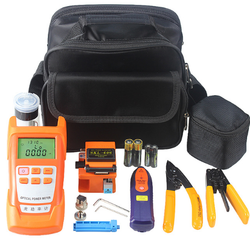 17 types of optical fiber tool kit combination with SKL-60S fiber cleaver, Mini 1-5KM Visual Fault Locator