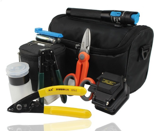 FTTH Fiber Optic Tool Kit with SKL-6C Fiber Cleaver and Kevlar Scissors Shears and Fiber Cable Strippers
