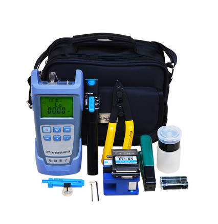 FTTH Fiber Optic Tool Kit with Fiber Cleaver -70 to 10dBm Optical Power Meter Visual Fault Lcator 5km